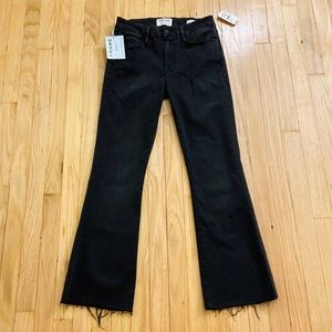 NWT FRAME Le Crop Mini Boot Kick Flare Black Denim